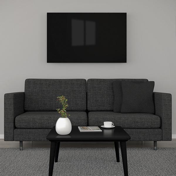 Glasheizung schwarz 750 Watt 90x70cm